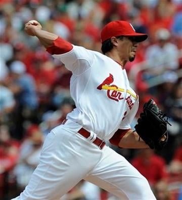 St. Louis Cardinals' starting pitcher Kyle Lohse (26) throws against the Milwaukee Brewers in the first inning in a baseball game on Saturday, May 7, 2011, in St. Louis. (AP Photo/Bill Boyce) By Bill Boyce