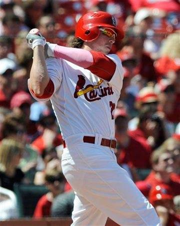 St. Louis Cardinals' Colby Rasmus follows through on a two-run double against the Milwaukee Brewers in the fifth inning of a baseball game Sunday, May 8, 2011, in St. Louis. (AP Photo/Bill Boyce) By Bill Boyce