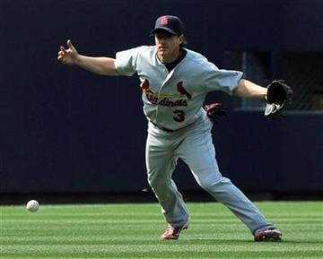 St. Louis Cardinals shortstop Ryan Theriot drops a fly in left field off the bat of Atlanta Braves' Alex Gonzalez for an error during the ninth inning of a baseball game, Sunday May 1, 2011, in Atlanta. Atlanta won 6-5. (AP Photo/John Amis) By John Amis