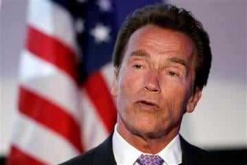 Arnold Schwarzenegger speaks at the Israel 63rd Independence Day Celebration hosted by the Consulate General of Israel in Los Angeles, Tuesday, May 10, 2011. Schwarzenegger was honored at the event. (AP Photo/Matt Sayles) By Matt Sayles