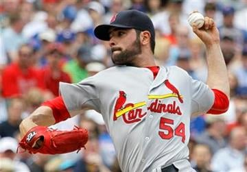 St. Louis Cardinals starting pitcher Jaime Garcia delivers during the second inning of a baseball game against the Chicago Cubs Thursday, May 12, 2011 in Chicago. (AP Photo/Charles Rex Arbogast) By Charles Rex Arbogast