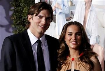 """Cast members Natalie Portman, right, and Ashton Kutcher pose together at the premiere """"No Strings Attached"""" in Los Angeles, on Tuesday, Jan. 11, 2011.  (AP Photo/Matt Sayles) By Matt Sayles"""