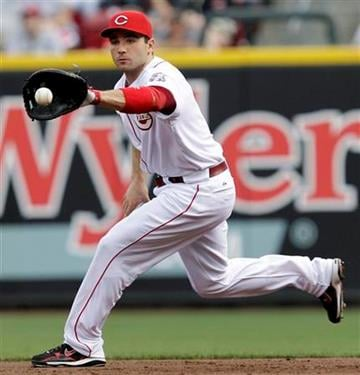 Cincinnati Reds first baseman Joey Votto fields a ground ball hit by St. Louis Cardinals' Nick Punto in the third inning of a baseball game, Friday, May 13, 2011 in Cincinnati. Votto threw Punto out at first. (AP Photo/Al Behrman) By Al Behrman
