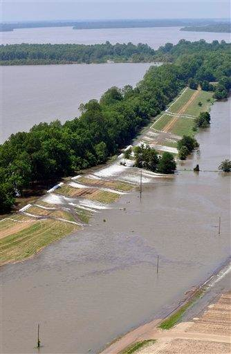 An aerieal view of the areas along the levee that are topping over in Lake Providence , La. on Thursday, May 12, 2011. (AP Photo/Kita Wright) By Kita Wright