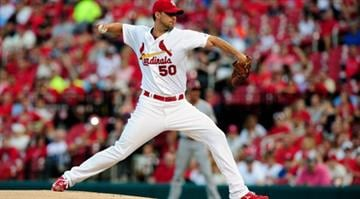 ST. LOUIS, MO - MAY 20:  Adam Wainwright #50 of the St. Louis Cardinals pitches against the Arizona Diamondbacks during the first inning at Busch Stadium on May 20, 2014 in St. Louis, Missouri.  (Photo by Jeff Curry/Getty Images) By Jeff Curry