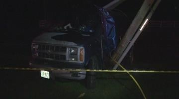 A driver crashed into an electrical pole, knocking out power along a stretch of a busy south St. Louis County road early Tuesday morning. By Brendan Marks