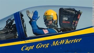 Capt. Greg McWherter, who was then commanding officer of the Blue Angels, performs in an air show in Lincoln, Nebraska, on September 10, 2011. By Brendan Marks