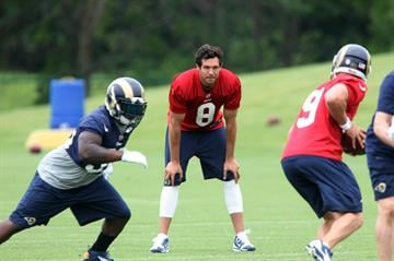 St. Louis Rams quarterback Sam Bradford watches as teammates run plays during the first day of organizaed team activities at Rams Park in Earth City, Missouri on June 5, 2014.    UPI/Bill Greenblatt By BILL GREENBLATT