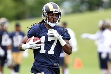 St. Louis Rams rookie wide receiver Jamaine Sherman runs a play during the first day of organizaed team activities at Rams Park in Earth City, Missouri on June 5, 2014.    UPI/Bill Greenblatt By BILL GREENBLATT