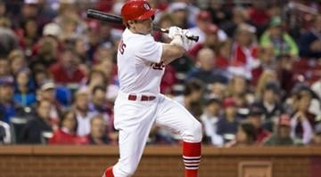 ST. LOUIS, MO - MAY 13: Peter Bourjos #8 of the St. Louis Cardinals hits a double in the second inning of a game against the Chicago Cubs at Busch Stadium on May 13, 2014 in St. Louis, Missouri. (Photo by David Welker/Getty Images) By David Welker