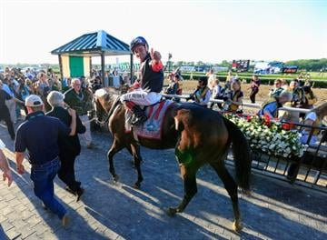 ELMONT, NY - JUNE 07:  Tonalist #11, ridden by Joel Rosario, celebrates in the winner's circle after winning the 146th running of the Belmont Stakes at Belmont Park on June 7, 2014 in Elmont, New York.  (Photo by Rob Carr/Getty Images) By Rob Carr