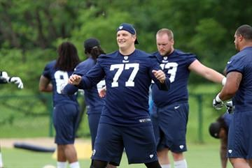 St. Louis Rams tackle Jake Long stretches during the first day of organizaed team activities at Rams Park in Earth City, Missouri on June 5, 2014.    UPI/Bill Greenblatt By BILL GREENBLATT