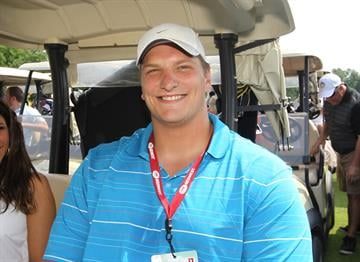 St. Louis Rams Jake Long waits in his cart for the start of the Albert Pujols Golf Tournament at Meadowbrook Country Club in St. Louis on July 8, 2013. The tournament benefits the Pujols Family Foundation.   UPI/Bill Greenblatt By BILL GREENBLATT
