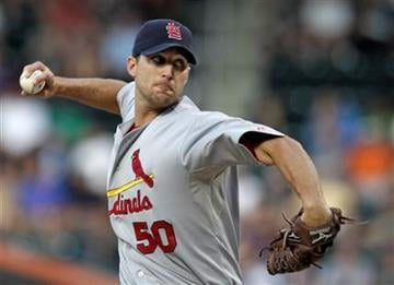 St. Louis Cardinals starting pitcher Adam Wainwright delivers in the second inning against the New York Mets in a baseball game in New York, Tuesday, July 27, 2010. (AP Photo/Kathy Willens) By Kathy Willens