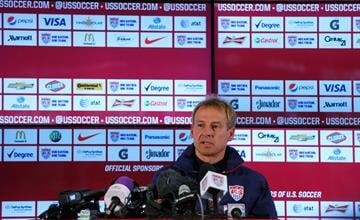 SAO PAULO, BRAZIL - JUNE 11:  Jurgen Klinsmann of the United States speaks with the media prior to the US Men's National Team training session at Sao Paulo FC on June 11, 2014 in Sao Paulo, Brazil.  (Photo by Kevin C. Cox/Getty Images) By Kevin C. Cox