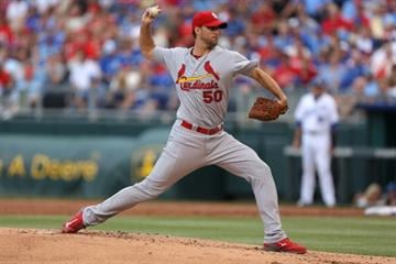 KANSAS CITY, MO - JUNE 4:  Adam Wainwright #50 of the St. Louis Cardinals pitches in the first inning against the Kansas City Royals at Kauffman Stadium on June 4, 2014 in Kansas City, Missouri. (Photo by Ed Zurga/Getty Images) By Ed Zurga