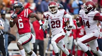 Jaylen Walton (left)  is one of many who have been key to the Ole Miss ground game