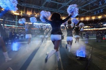 The St. Louis Rams cheerleaders take to the field before a game between the Chicago Bears and the St. Louis Rams at the Edward Jones Dome in St. Louis on November 24, 2013.    UPI/Bill Greenblatt By BILL GREENBLATT