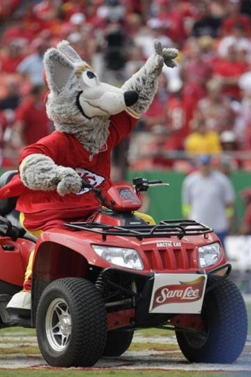 KANSAS CITY, MO - SEPTEMBER 20:  Kansas City Chiefs mascot K.C. Wolf rides on the field during the game against the Oakland Raiders at Arrowhead Stadium on September 20, 2009 in Kansas City, Missouri. (Photo by Jamie Squire/Getty Images) By Jamie Squire