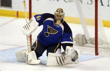 St. Louis Blues goaltender Jaroslav Halak of Slovakia makes a save on a Phoenix Coyotes shot in the first period at the Scottrade Center in St. Louis on November 12, 2013.    UPI/Bill Greenblatt By BILL GREENBLATT