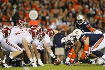 AUBURN, AL - NOVEMBER 30:  The Alabama Crimson Tide line up against the Auburn Tigers in the third quarter at Jordan-Hare Stadium on November 30, 2013 in Auburn, Alabama.  (Photo by Kevin C. Cox/Getty Images) By Kevin C. Cox