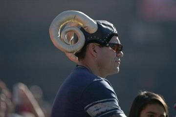 SAN FRANCISCO, CA - DECEMBER 1: A St. Louis Rams fan wears a hat with horns before a game against the San Francisco 49ers on December 1, 2013 at Candlestick Park in San Francisco, California. (Photo by Stephen Lam/Getty Images) By Stephen Lam