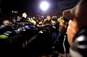 COLUMBIA, MO - NOVEMBER 30:  Head coach Gary Pinkel talks with the media after the Missouri Tigers defeated the Texas A&M Aggies 28-21 to win the game on November 30, 2013 in Columbia, Missouri.  (Photo by Jamie Squire/Getty Images) By Jamie Squire