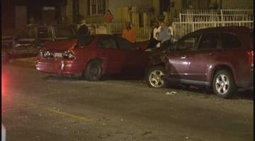 (KMOV.com) Authorities are searching for two men who fled after their vehicle hit three parked cars early Wednesday morning in north St. Louis. By Stephanie Baumer