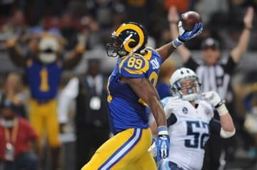 ST. LOUIS, MO - NOVEMBER 3: Jared Cook #89 of St. Louis Rams celebrates a third quarter touchdown against the Tennessee Titans at the Edward Jones Dome on November 3, 2013 in St. Louis, Missouri.  (Photo by Michael Thomas/Getty Images) By Michael Thomas