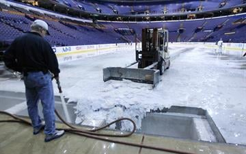 The ice is melted and removed from the Scottrade Center in St. Louis on April 29, 2014. The Blues were defeated 4 games to 2 by the Chicago Blackhawks in the Western Conference playoffs to end their season.  UPI/Bill Greenblatt By BILL GREENBLATT