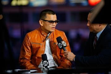 LOS ANGELES, CA - APRIL 26:  Marcos Maidana talks to the media to preview the fight against Floyd Mayweather at StubHub Center on April 26, 2014 in Los Angeles, California.  (Photo by Joe Scarnici/Getty Images) By Joe Scarnici
