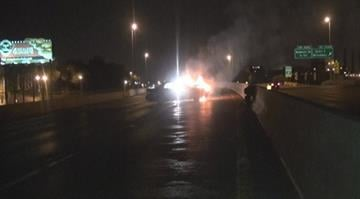 According to police, two men were inside a vehicle on SB I-55 near Arsenal when the car slammed into a side wall and caught fire. By Brendan Marks