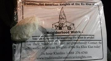 This is just one of the fliers distributed by the KKK to several residences in Jefferson County on Tuesday. By Brendan Marks