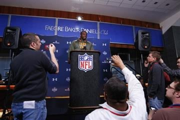 INDIANAPOLIS, IN - FEBRUARY 21: Former Auburn offensive lineman Greg Robinson speaks to the media during the 2014 NFL Combine at Lucas Oil Stadium on February 21, 2014 in Indianapolis, Indiana. (Photo by Joe Robbins/Getty Images) By Joe Robbins