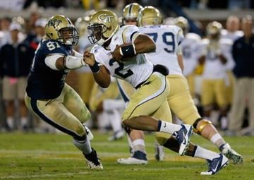 ATLANTA, GA - NOVEMBER 02:  Vad Lee #2 of the Georgia Tech Yellow Jackets rushes past Aaron Donald #97 of the Pittsburgh Panthers at Bobby Dodd Stadium on November 2, 2013 in Atlanta, Georgia.  (Photo by Kevin C. Cox/Getty Images) By Kevin C. Cox