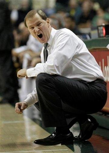 Oregon coach Dana Altman shouts to his team in the first half of an NCAA college basketball game against Missouri on Thursday, Dec. 2, 2010, in Eugene, Ore. (AP Photo/Rick Bowmer) By Rick Bowmer