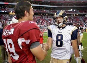 St. Louis Rams quarterback Sam Bradford, right, shakes hands with Arizona Cardinals quarterback John Skelton, left,  following an NFL football game Sunday, Dec. 5, 2010, in Glendale, Ariz. The Rams won 19-6. (AP Photo/Paul Connors) By PAUL CONNORS
