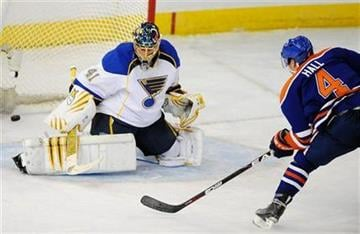 Edmonton Oilers' Taylor Hall, right, scores the overtime winning goal against the St. Louis Blues Jaroslav Halak during NHL hockey action in Edmonton on Saturday December, 4, 2010.  (AP Photo/The Canadian Press - John Ulan) By John Ulan