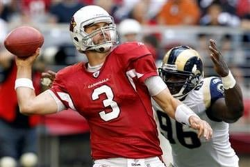 Arizona Cardinals' Derek Anderson (3) gets off a pass as St. Louis Rams' James Hall (96) applies pressure during the second quarter of an NFL football game Sunday, Dec. 5, 2010, in Glendale, Ariz. (AP Photo/Ross D. Franklin) By Ross D. Franklin