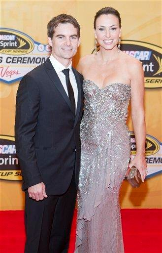 Jeff Gordon, left, and wife Ingrid Vandebosch arrive at The NASCAR Sprint Cup Series Auto Racing Awards ceremony Friday, Dec. 3, 2010, at The Wynn Resort & Casino in Las Vegas. (AP Photo/Eric Jamison) By Eric Jamison