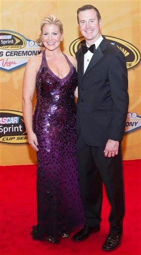Kurt Busch and wife Eva arrive at the NASCAR Sprint Cup Series Auto Racing Awards ceremony Friday, Dec. 3, 2010, at The Wynn Resort & Casino in Las Vegas. (AP Photo/Eric Jamison) By Eric Jamison