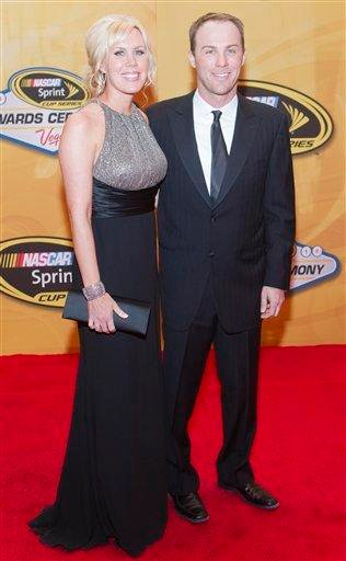 Kevin Harvick, right, and wife DeLana arrive at the NASCAR Sprint Cup Series Auto Racing Awards ceremony Friday, Dec. 3, 2010, at The Wynn Resort & Casino in Las Vegas. (AP Photo/Eric Jamison) By Eric Jamison