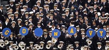 Navy midshipmen celebrate after a touchdown in the first half of an NCAA college football game against Army, Saturday, Dec. 11, 2010, in Philadelphia. (AP Photo/Matt Slocum) By Matt Slocum