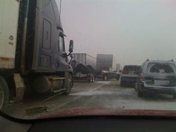 Eastbound I-70 is shut down at mile marker 200 due to an accident involving a tractor-trailer.