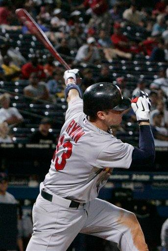 St. Louis Cardinals' Brendan Ryan (13) bats against the Atlanta Braves during the ninth inning of an MLB baseball game, Sunday Sept. 12, 2010, in Atlanta. St. Louis won 7-3. (AP Photo/John Amis) By John Amis