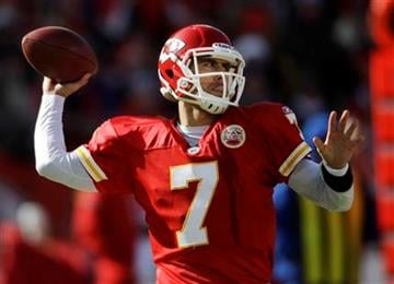 Kansas City Chiefs quarterback Matt Cassel (7) passes to a teammate during the first half of an NFL football game against the Denver Broncos at Arrowhead Stadium in Kansas City, Mo., Sunday, Dec. 5, 2010. (AP Photo/Orlin Wagner) By Orlin Wagner
