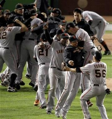 San Francisco Giants celebrate after winning baseball's World Series against the Texas Rangers  3-1 Monday, Nov. 1, 2010, in Arlington, Texas. (AP Photo/Eric Gay) By Eric Gay