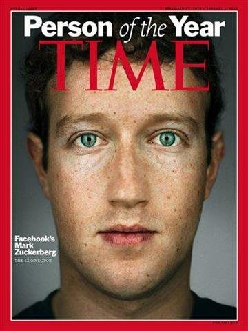 "This image released by Time Magazine, Wednesday, Dec. 15, 2010, shows the cover for Time magazine's 2010 ""Person of the Year"" issue, featuring Facebook founder and CEO Mark Zuckerberg. (AP Photo/Time Magazine) NO SALES, MANDATORY CREDIT By Bryce Moore"