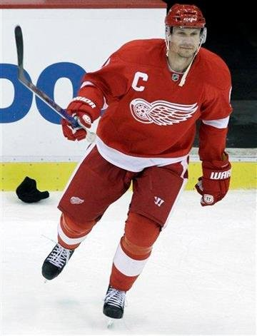 Detroit Red Wings defenseman Nicklas Lidstrom (5), of Sweden celebrates his third goal of the game against the St. Louis Blues in the third period of their NHL hockey game in Detroit Wednesday, Dec. 15, 2010. (AP Photo) By KMOV Web Producer