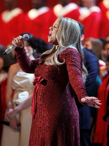 Singer Mariah Carey performs during the Annual Christmas in Washington presentation at the National Building Museum in Washington, Sunday, Dec. 12, 2010.   (AP Photo/Manuel Balce Ceneta) By Manuel Balce Ceneta